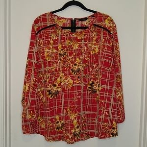 Investments floral & plaid blouse